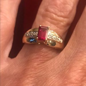 Yellow Gold Synthetic Emerald Cut Ruby Ring Size 6